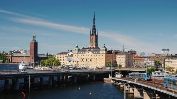Thumbnail for View of Stockholm on a Sunny Day, Subway Train Leaves the Tunnel