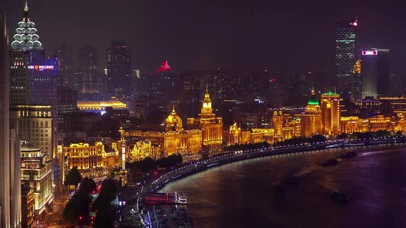 Thumbnail for Central Shanghai Bund on Huangpu Bank in China Timelapse