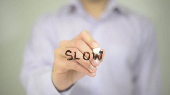 Slow,  Man Writing on Transparent Screen