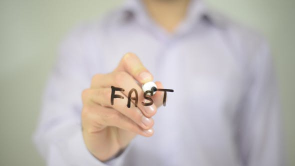 Thumbnail for Fast,  Man Writing on Transparent Screen