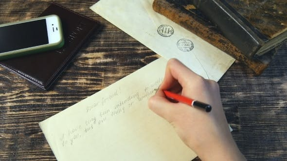 Thumbnail for Woman Hand Fast Write Letter on Vintage Background