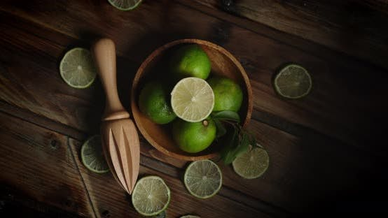 Thumbnail for Slices of Aromatic Lime on the Plate Slowly Rotate