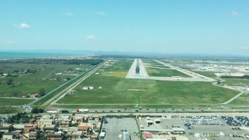 Airplane Has Hard Landing in Summer Day Camera on Airplane