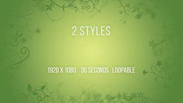 Thumbnail for Animated Floral Background Soft Green - 2 Clips