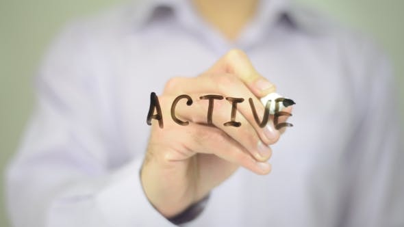 Thumbnail for Active,  Man Writing on Transparent Screen