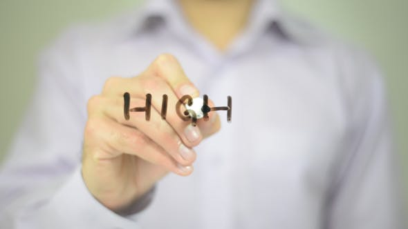 Thumbnail for High,  Man Writing on Transparent Screen