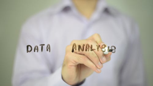 Data Analysis, Man Writing on Transparent Screen