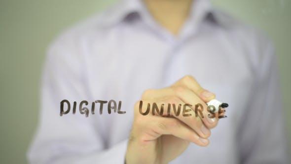 Digital Universe, Man Writing on Transparent Screen