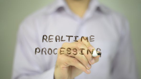 Realtime Processing, Man Writing on Transparent Screen