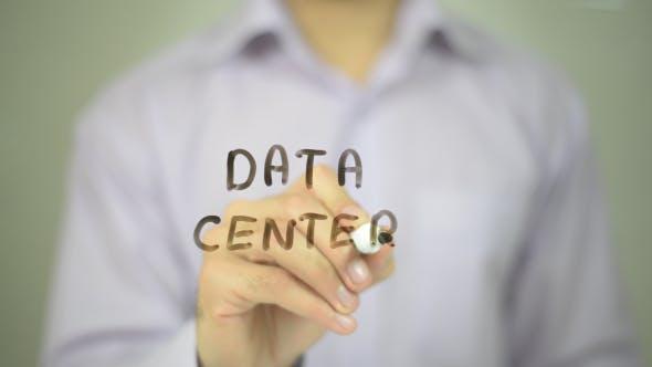 Data Center, Man Writing on Transparent Screen