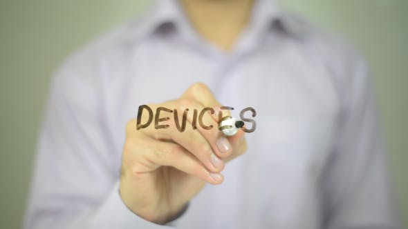 Devices, Man Writing on Transparent Screen