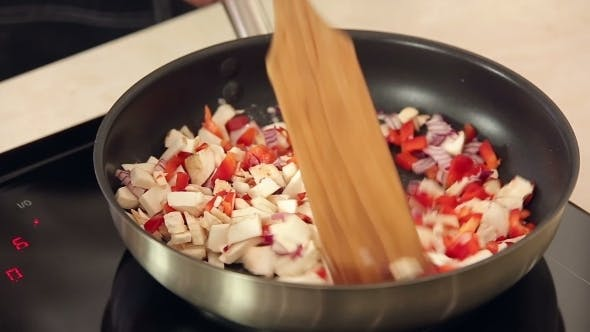 Thumbnail for Mixed Vegetable Ingredients Frying On a Pan