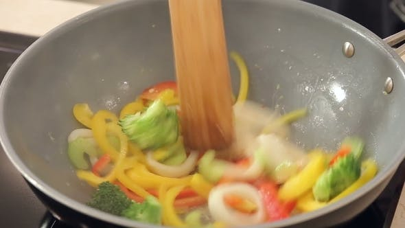 Thumbnail for Stewing Squid And Vegetables In a Wok