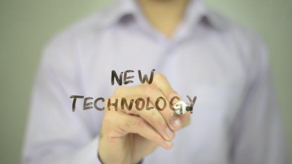 New Technology, Man Writing on Transparent Screen