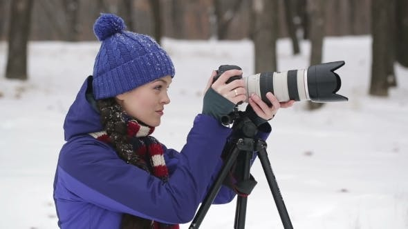 Thumbnail for Professional Photographer Outdoor In Winter
