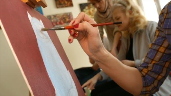 Thumbnail for Female Artist Paints Picture Artwork In Art Studio