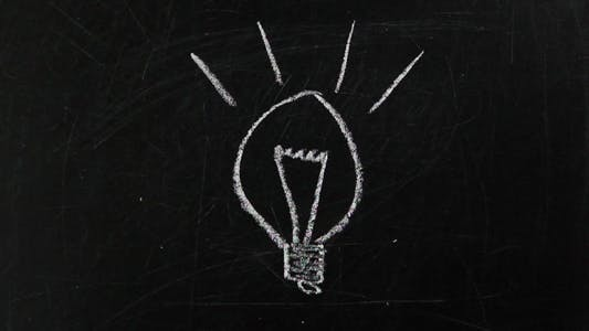 Thumbnail for Idea. Light Bulb Drawn With Chalk on a Blackboard.