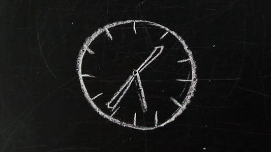 Thumbnail for Time. Clock Drawn With Chalk on a Blackboard.