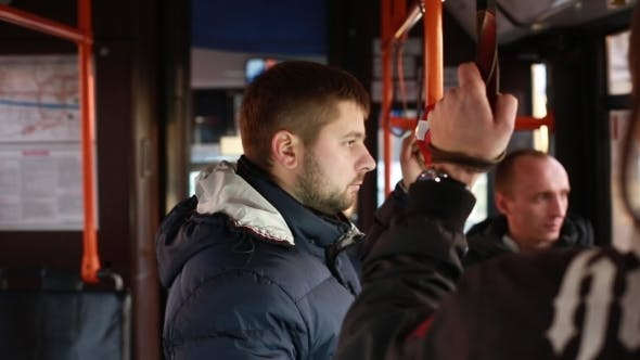 Sad Man In Bus