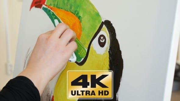 Thumbnail for Artist Paints Picture Artwork Canvas In Art Studio