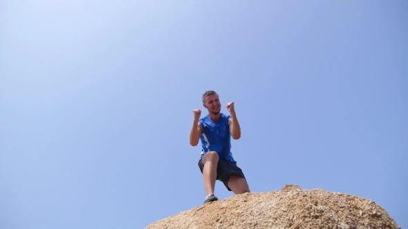 Thumbnail for Sport Success Motivation Man Raising Arms After Cross Track Running