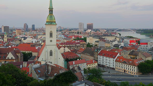 Bratislava Castle and Old Town View, Slovakia