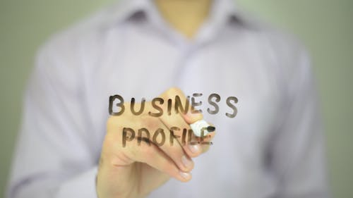 Business profile,  Man Writing on Transparent Screen
