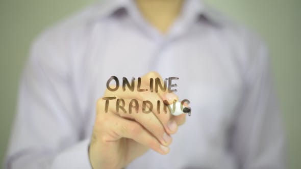 Thumbnail for Online Trading,  Man Writing on Transparent Screen
