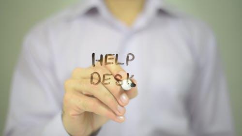 Help Desk, Man Writing on Transparent Screen