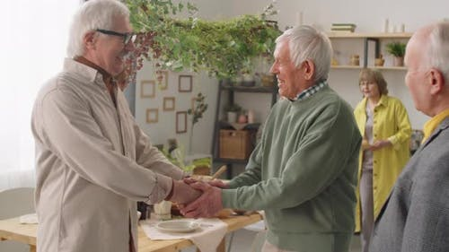 Senior Men Shaking Hands and Talking at Home Party