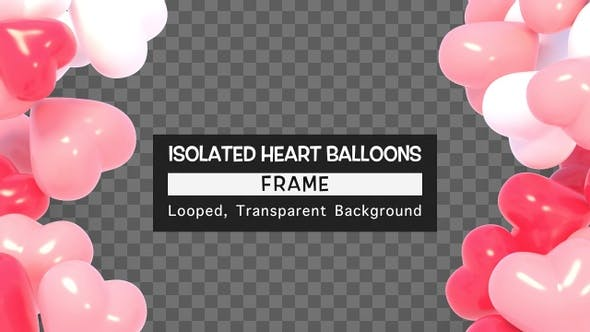 Isolated Heart Balloons Frame