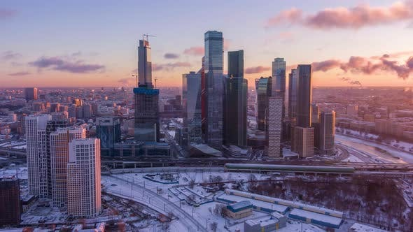 Thumbnail for Skyscrapers of Moscow City Business Center and City Skyline in Sunny Winter Morning. Aerial View