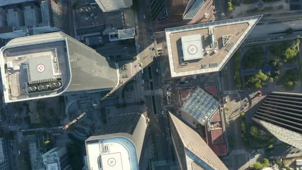 Thumbnail for AERIAL: Epic Slow Lowering and Circling Birds Eye View Over Downtown Los Angeles California in