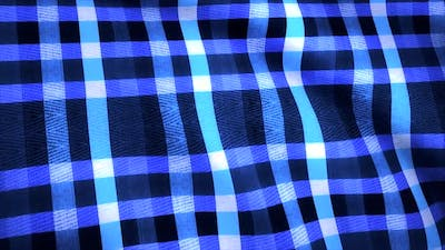 Blue grid pattern on piece of fabric