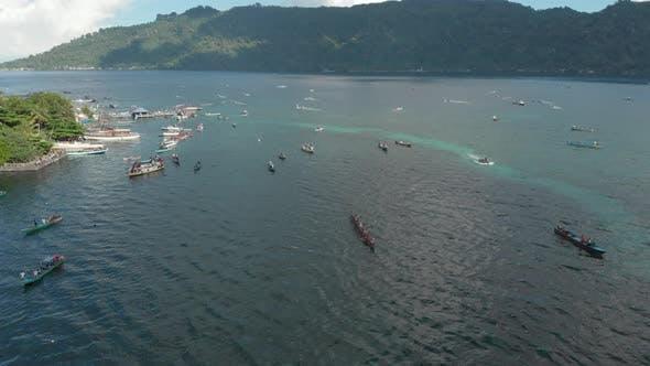 Thumbnail for Aerial: kora-kora traditional canoe annual race in the Banda Islands Indonesia