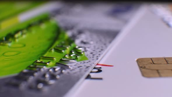 Credit cards close-up. Payments cards issued to cardholders. Credit card surface macro shots.