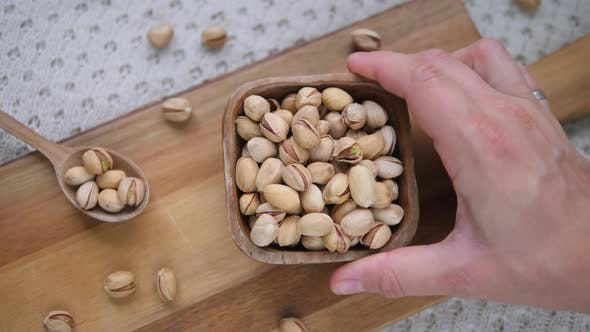 Thumbnail for Closeup Of Healthy Vegan Snack Pistachio Nuts.