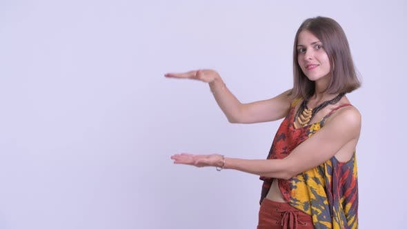Thumbnail for Happy Young Beautiful Hipster Woman Snapping Fingers and Looking Surprised