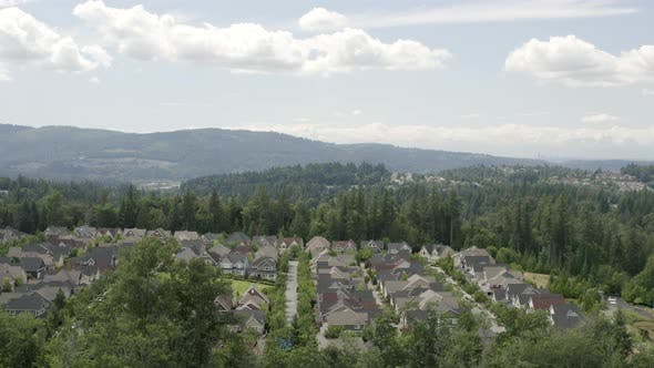 Cover Image for Issaquah Highlands Washington Aerial View New Homes Surrounded By Natural Beauty Of Nature Forest