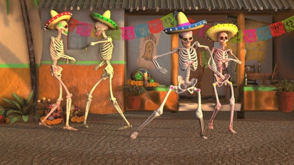 Thumbnail for Mexican Dancing Skeletons In A Village #2