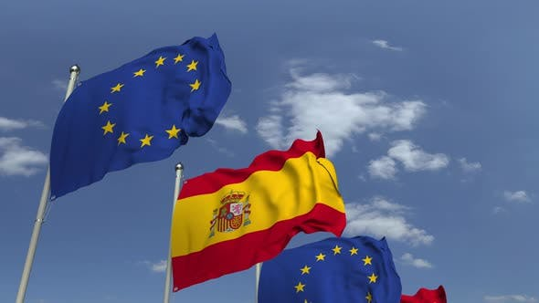 Thumbnail for Many Flags of Spain and the European Union
