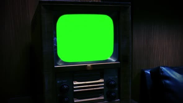 Thumbnail for Old Retro TV with Green Screen. Night Tone (Zoom In).