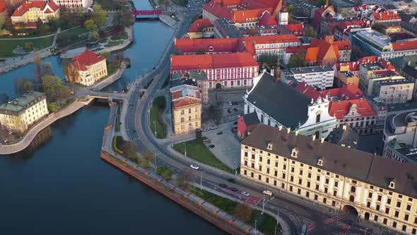 Thumbnail for View From the Height on the Historic City Center and the Odra River. Stare Myasto, Wroclaw, Poland