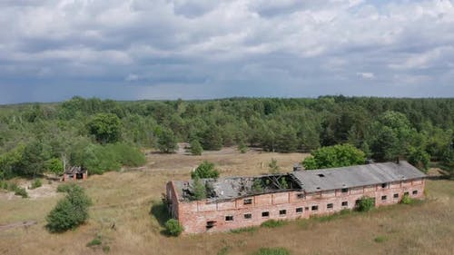 Drone Shot of Destroyed Farm in Chernobyl Zone