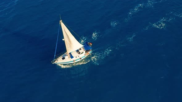 Thumbnail for Aerial View. Yacht Sailing on Open Sea at Sunny Day. Sailing Boat