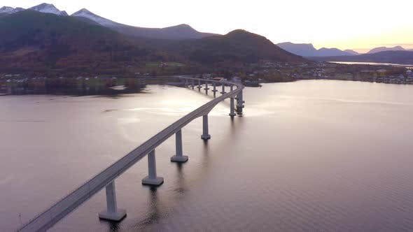 Thumbnail for A Huge Box Girder Bridge over Tresfjord in Norway at Sunset