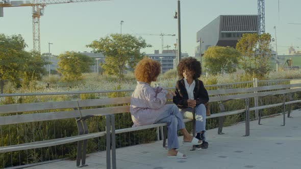 A Couple of Mixed Race Black Women in the Park Sitting and Talking