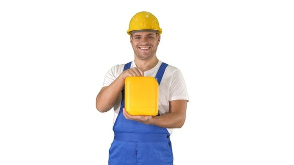 Thumbnail for Construction worker advertising construction material in