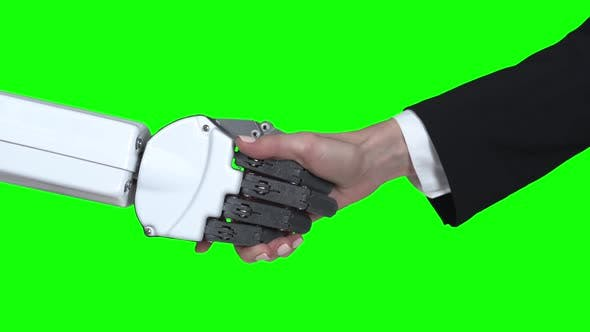 Thumbnail for Handshake Hands of Robot and Girl Hands. Green Screen. Close Up