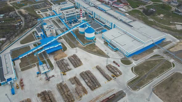 Aerial View of Modern Factory